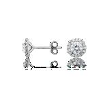 Puces d'oreilles halo de diamants en or blanc 18carats