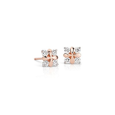 Blue Nile Studio Rose Petal Diamond Stud Earring in 18k Rose Gold (2/5 ct. tw.)