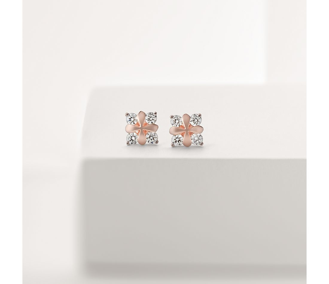 Blue Nile Studio Rose Petal Diamond Stud Earring in 18k Rose Gold
