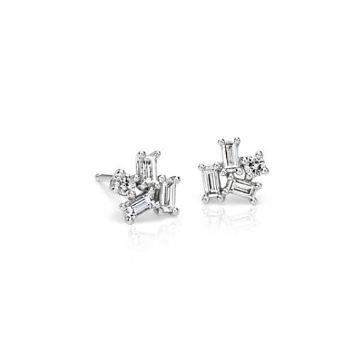 Diamond Asymmetrical Stud Earrings in 18k White Gold (1/2 ct. tw.)