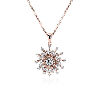 Diamond Sunburst Pendant in 14k Rose Gold (3/4 ct. tw.)