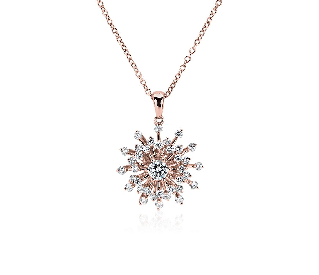 Diamond Sunburst Pendant in 14k Rose Gold
