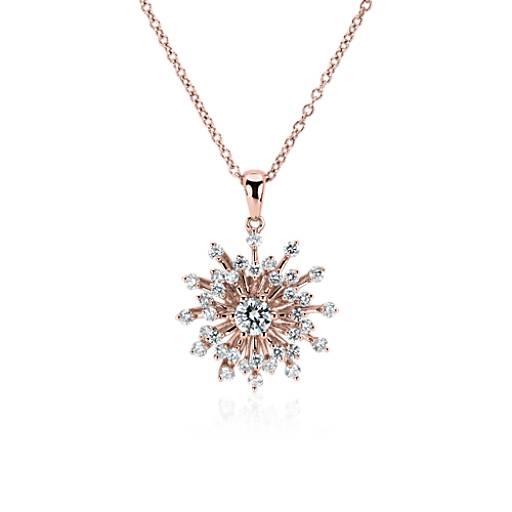 Colgante con forma de estrella de diamantes en oro rosado de 14k (3/4 qt. total)