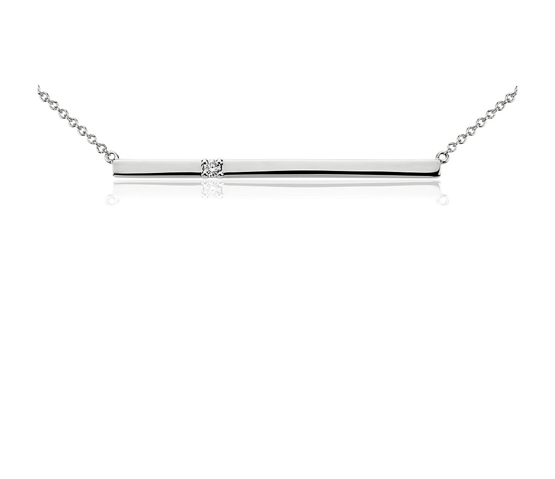 Bar Diamond Necklace in 14k White Gold