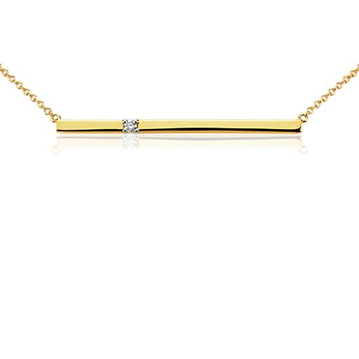 Bar Diamond Necklace in 14k Yellow Gold