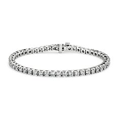 Bracelet tennis diamants en Or blanc 14 ct (5 carats, poids total)