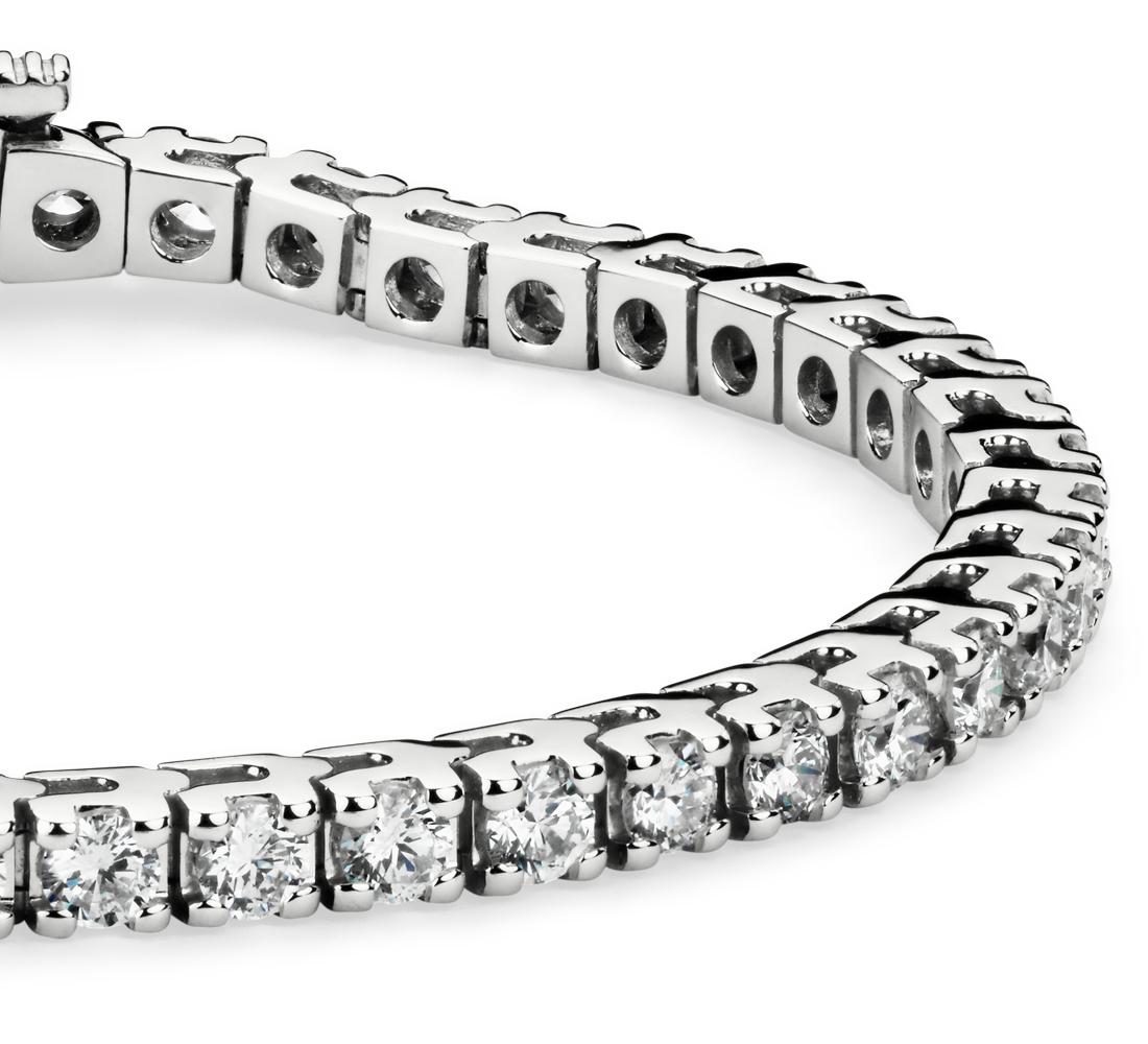 Bracelet tennis diamants en or blanc 14 carats (5 carats, poids total)