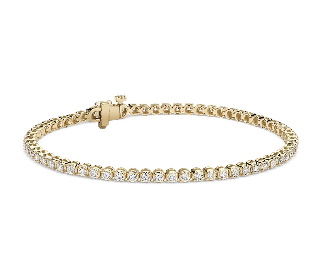 Diamond Tennis Bracelet 18k Yellow Gold 2 Ct Tw Blue