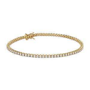 NEW Brazalete de tenis de diamantes in oro amarillo de 18 k - F / VS