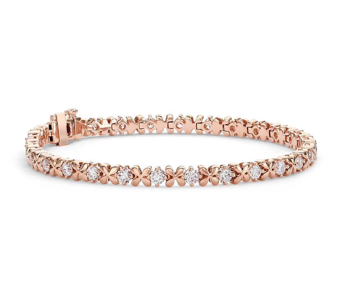 Blue Nile Studio Rose Petal Diamond Bracelet In 18k Rose