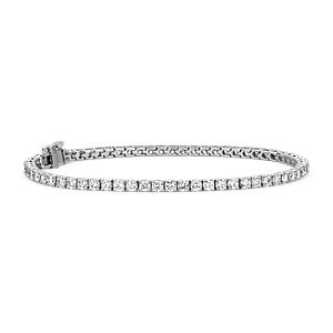 Bracelet tennis diamants en or blanc 18 carats - F / VS (3,95 carats, poids total)