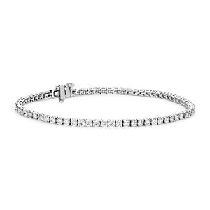 Bracelet tennis diamants en or blanc 18 carats - F / VS (3 carats, poids total)