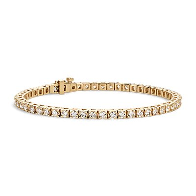 Bracelet tennis diamants en or jaune 18 carats (4 carats, poids total)