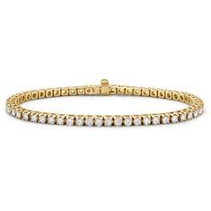 Brazalete de tenis de diamantes en oro amarillo de 18k (3 qt. total)
