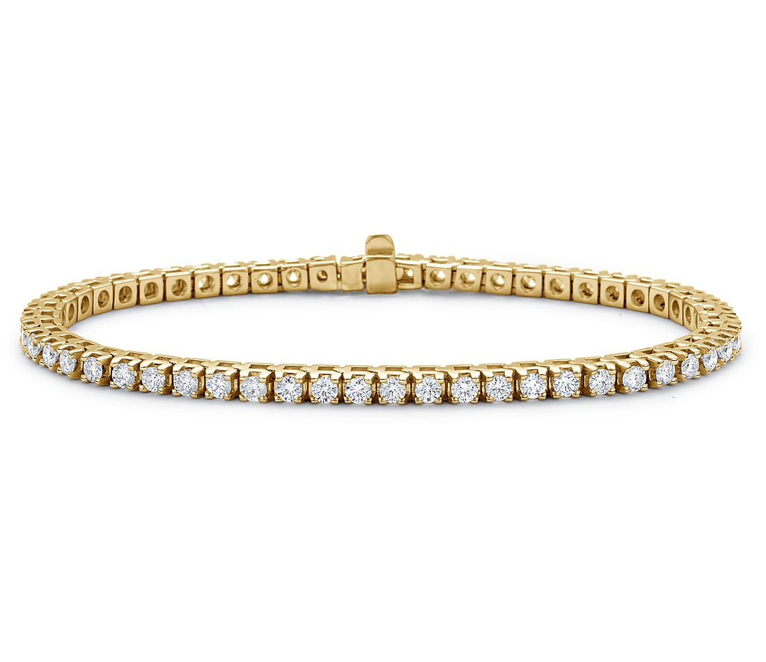 Bracelet tennis diamants en or jaune 18 carats (3 carats, poids total)