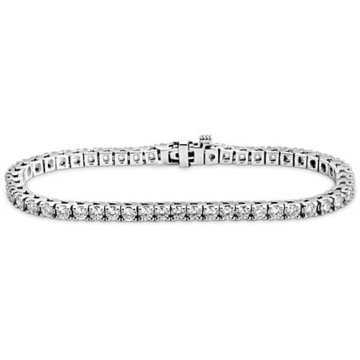 Bracelet tennis diamants en or blanc 18 carats (4 carats, poids total)