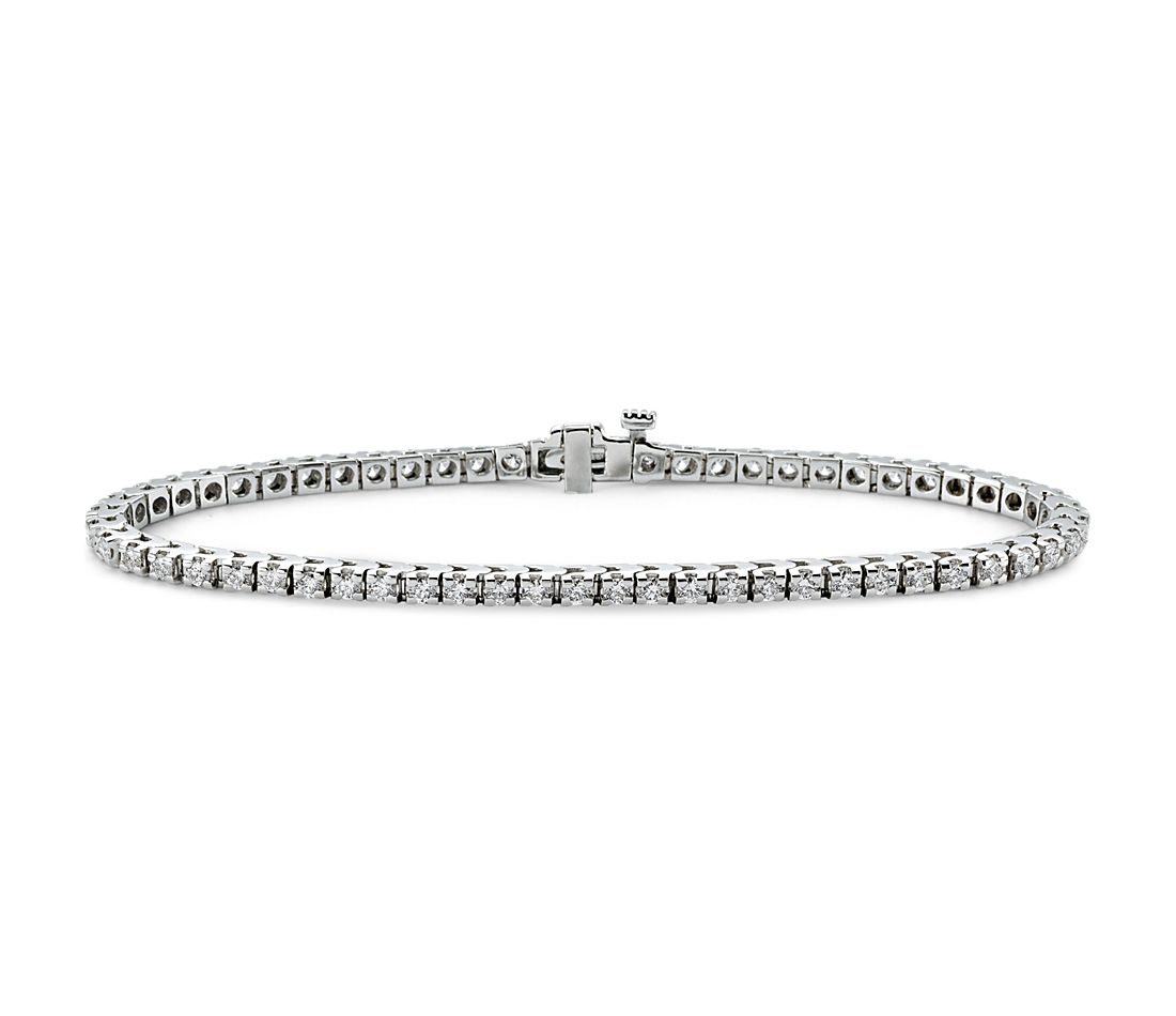 Bracelet tennis diamants en or blanc 18 carats (2 carats, poids total)