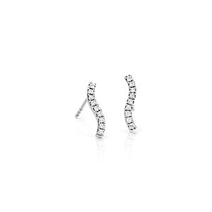 Mini Diamond Wave Earrings in 14k White Gold (1/10 ct. tw.)