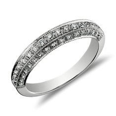 Bague diamants sertis pavé bijou de famille en Or blanc 18 ct