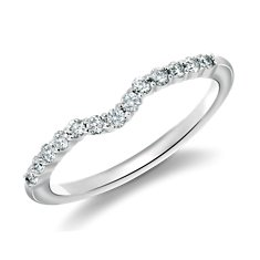 Alliance diamant incurvé Classic en Or blanc 18 ct
