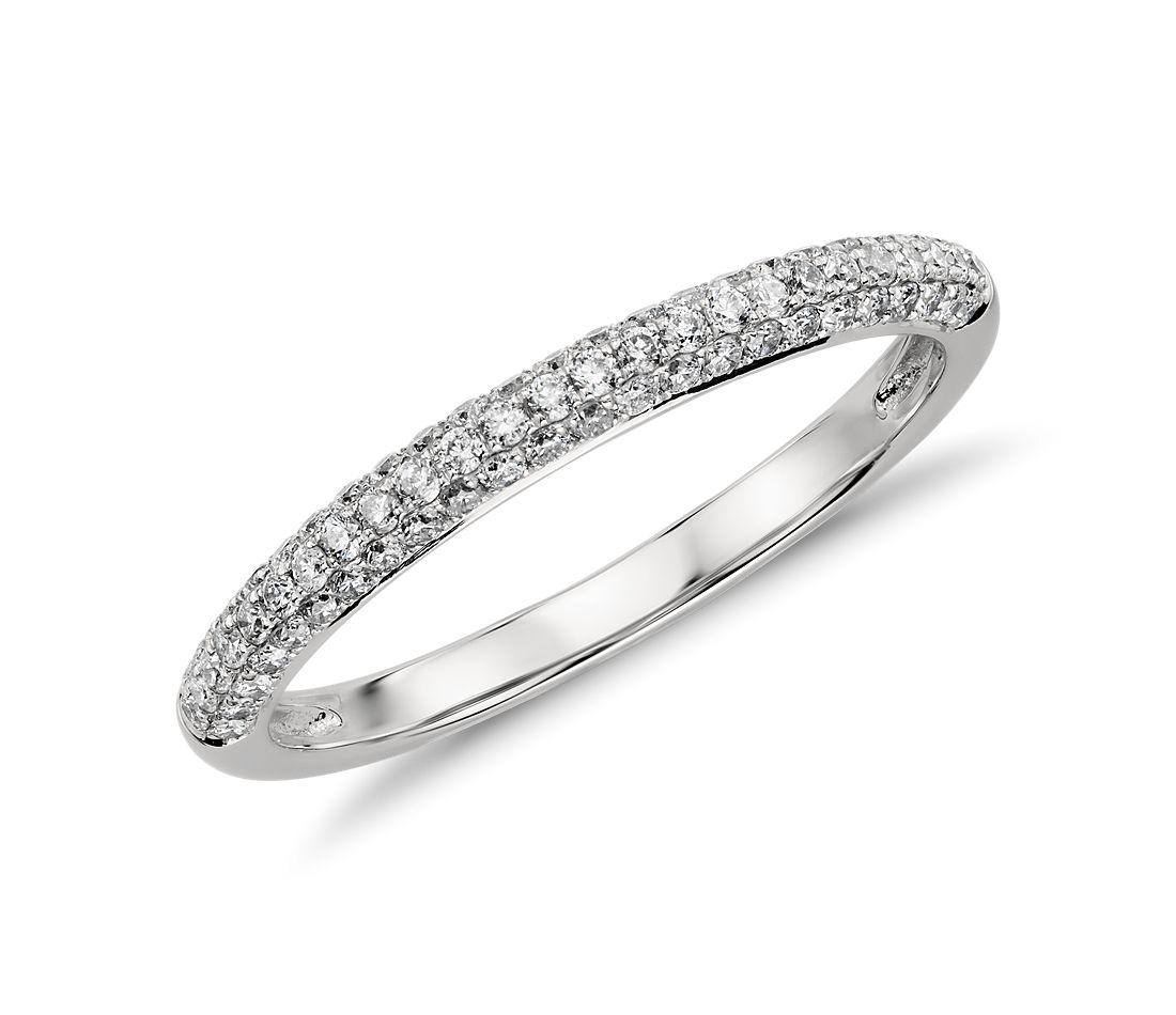 Trio Micropavé Diamond Wedding Ring in Platinum (1/3 ct. tw.)
