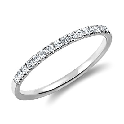 Petite Cathedral Pavé Diamond Ring in Platinum