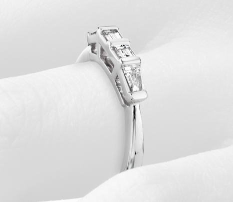 Alliance diamant baguette en or blanc 14 carats (1/3 carat, poids total)