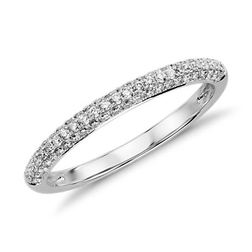 Alliance en diamants sertis micro-pavé trio en or blanc 14 carats (1/3 carat, poids total)