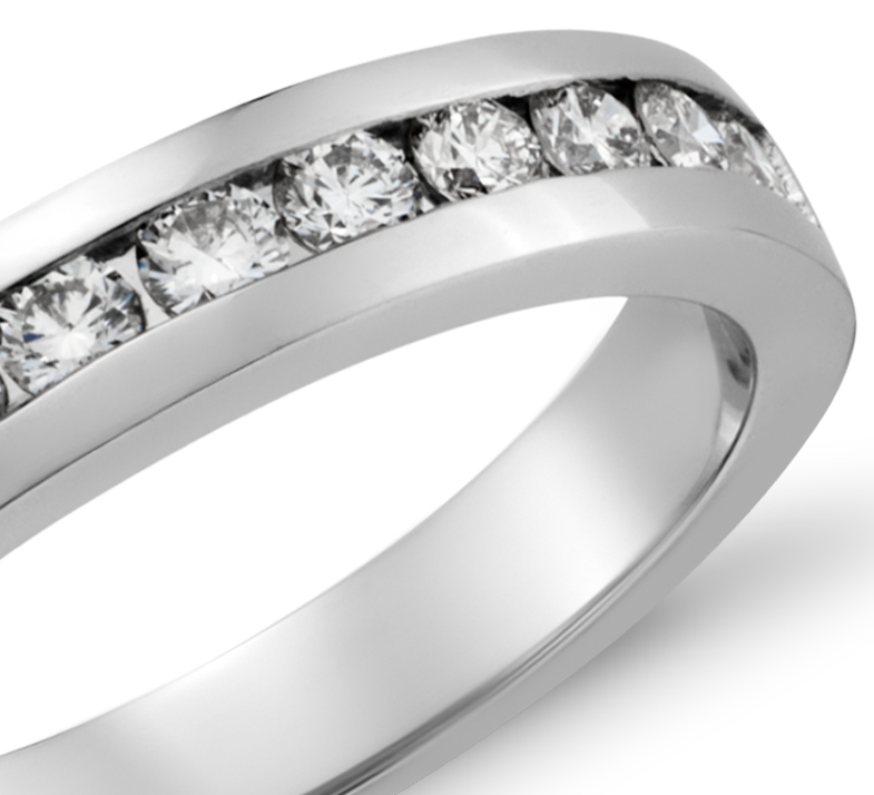 Channel Set Diamond Ring in 18k White Gold