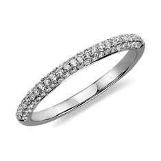 Alliance diamants sertis micro-pavé trio en Or blanc 14 ct (1/3 carat, poids total)