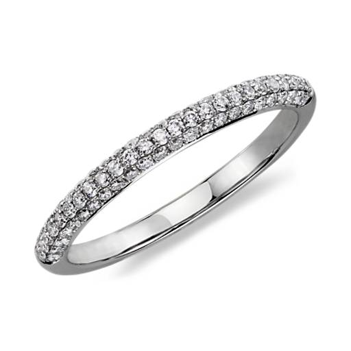 Alliance diamants sertis micro-pavé trio en or blanc 14 carats