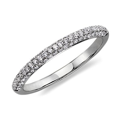 Alliance en diamants sertis micro-pavé trio en or blanc 14 carats