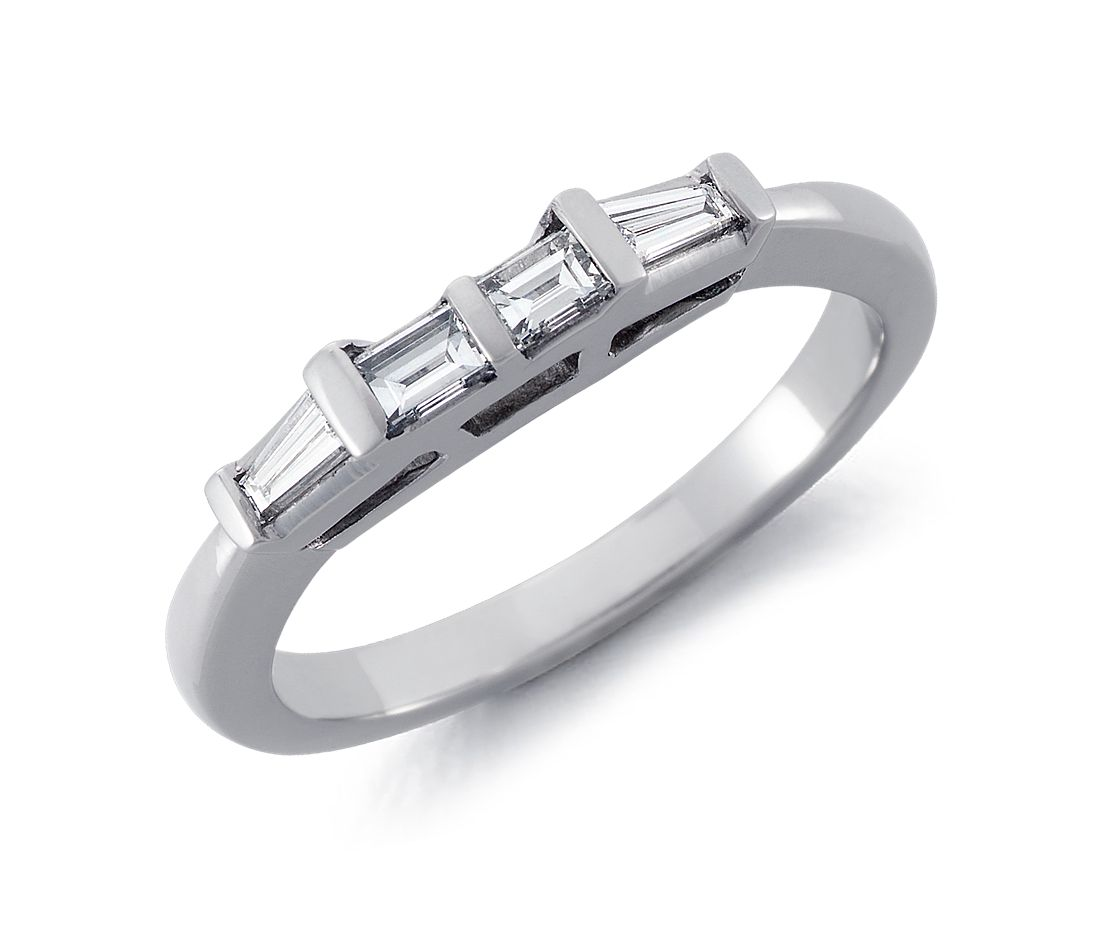 Classic Baguette Diamond Wedding Ring in 18k White Gold (1/3 ct. tw.)