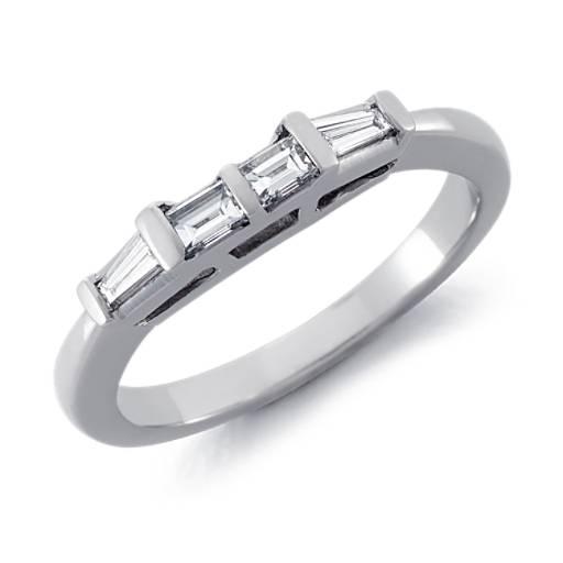 Alliance diamant baguette Classic en or blanc 18carats (1/3carat, poids total)