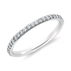 Bague d'éternité diamants sertis pavé en Or blanc 18 ct