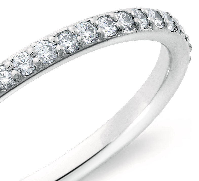 Bague d'éternité diamants sertis pavé en or blanc 18 carats