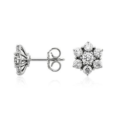 Boucles d'oreilles diamant fleur en or blanc 18carats (1 1/2carats, poids total)