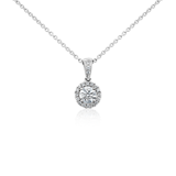 Halo Diamond Pendant in 18k White Gold (1/10 ct. tw.)