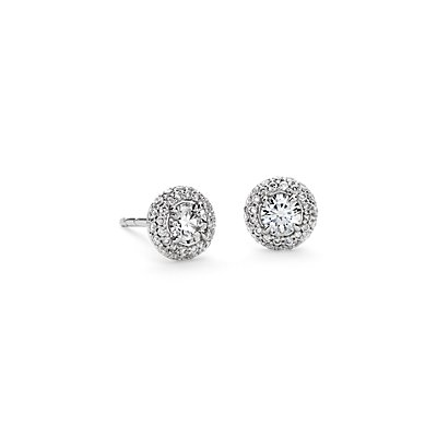 Domed Halo Diamond Stud Earrings in 18k White Gold (3/4 ct. tw.)