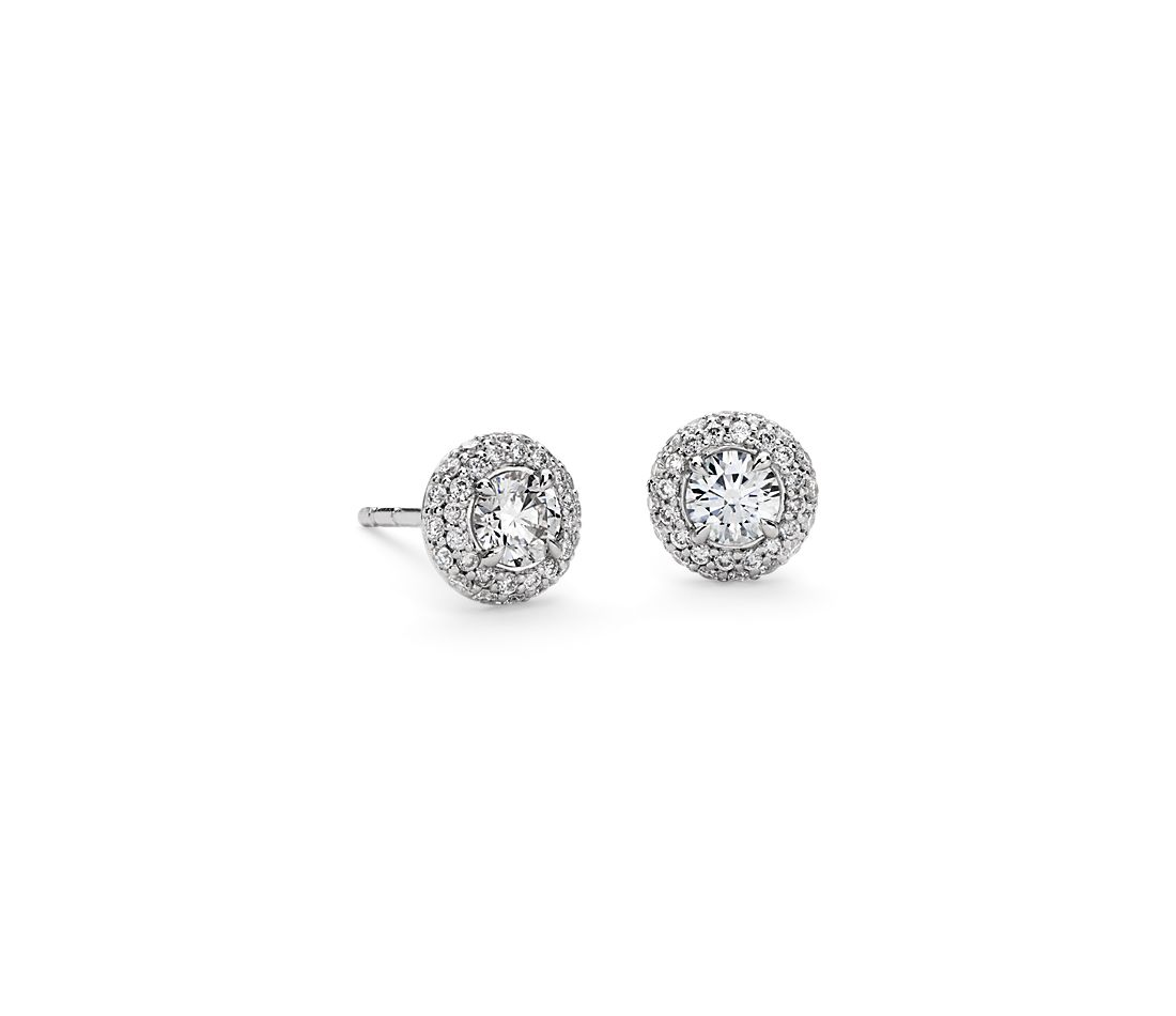 Domed Halo Diamond Stud Earrings in 18k White Gold