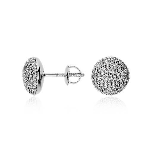 Button Micropavé Diamond Earrings in 14k White Gold (1 ct. tw.)