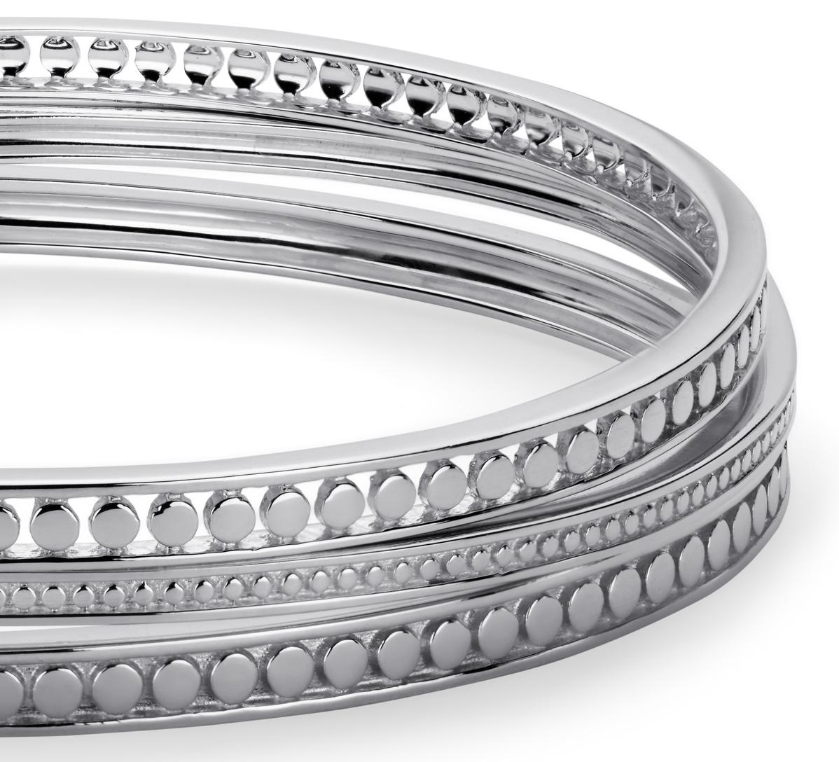 Trio de bracelets à pois en argent sterling