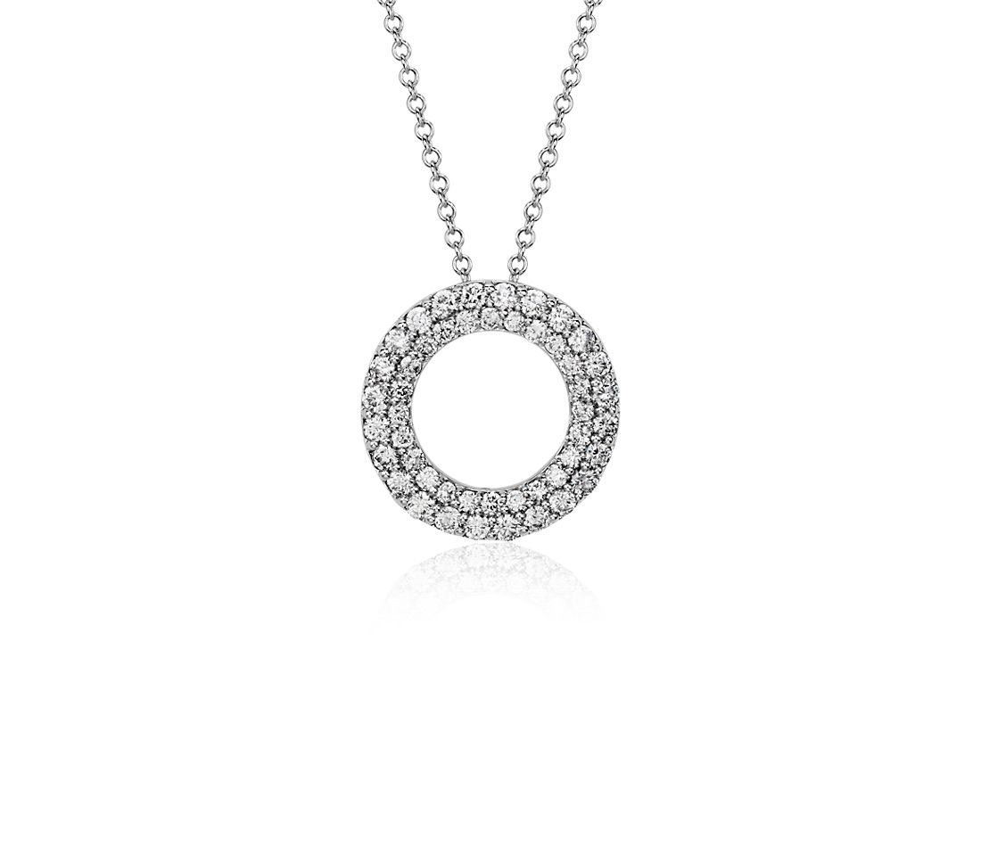 Double Circle Diamond Pendant in 18k White Gold