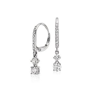 Double Drop Diamond Earrings in 14k White Gold (4/5 ct. tw.)
