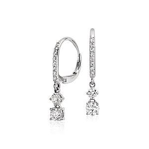 Aretes colgantes con forma circular de diamantes en oro blanco de 14 k (4/5 qt. total)