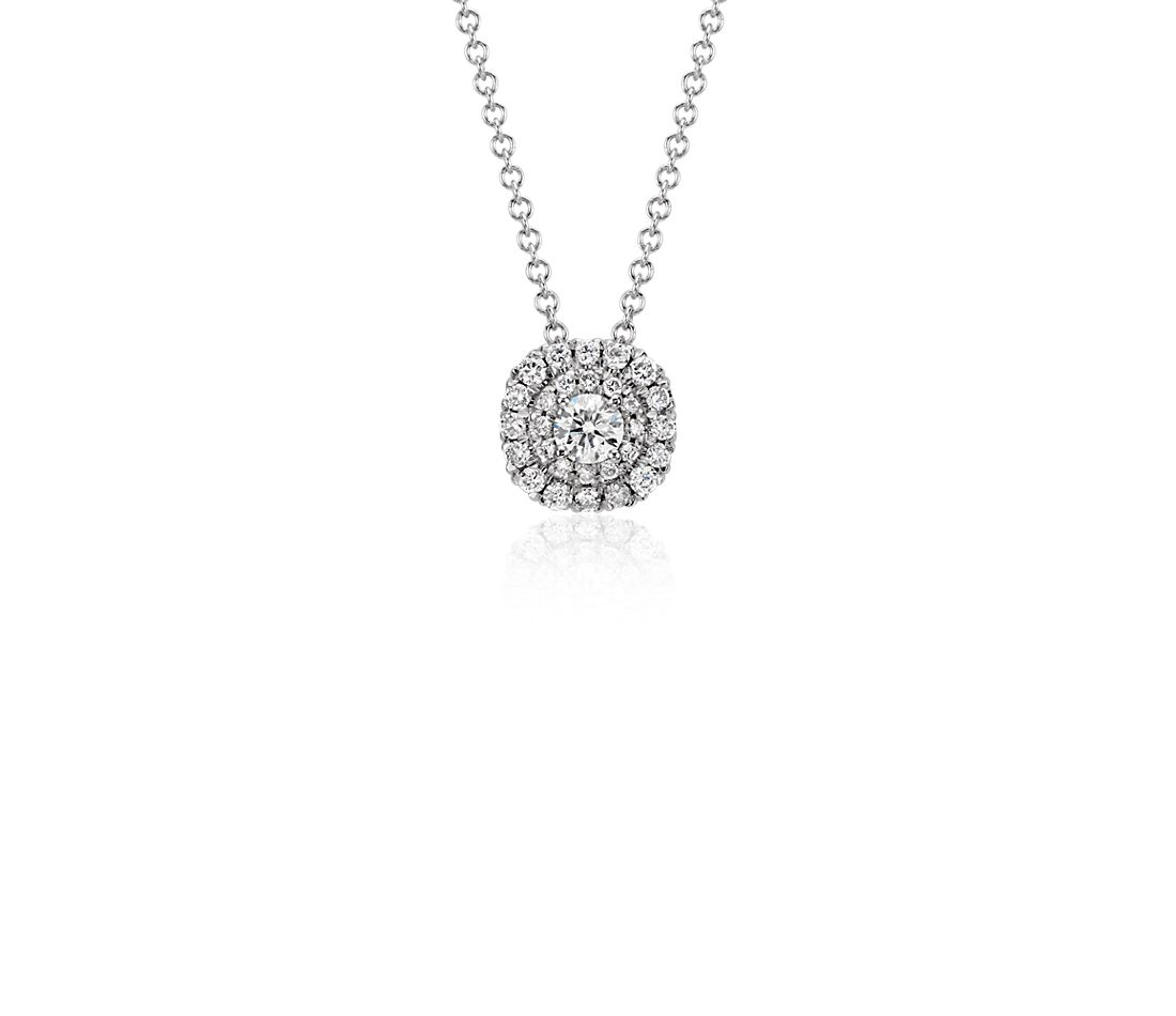Double Halo Cushion Diamond Pendant in 18k White Gold