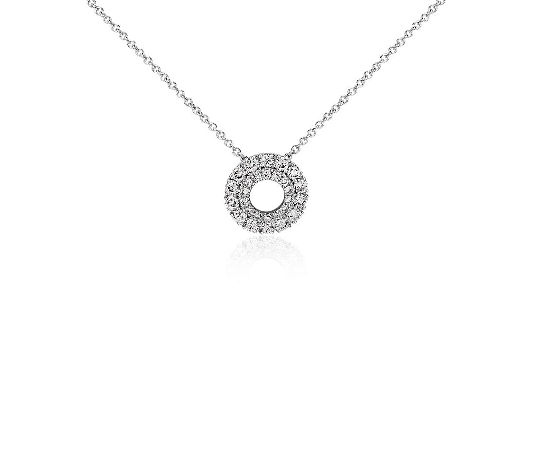 Double Halo Diamond Pendant in 14k White Gold
