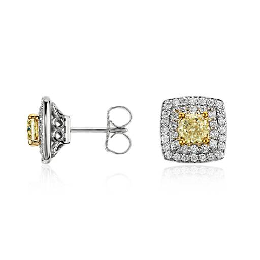 Light Fancy Yellow Diamond Stud Double Halo Earrings in 18k White Gold (1.50 ct. tw.)