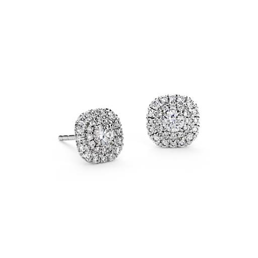 Double Halo Diamond Stud Earrings in 18k White Gold