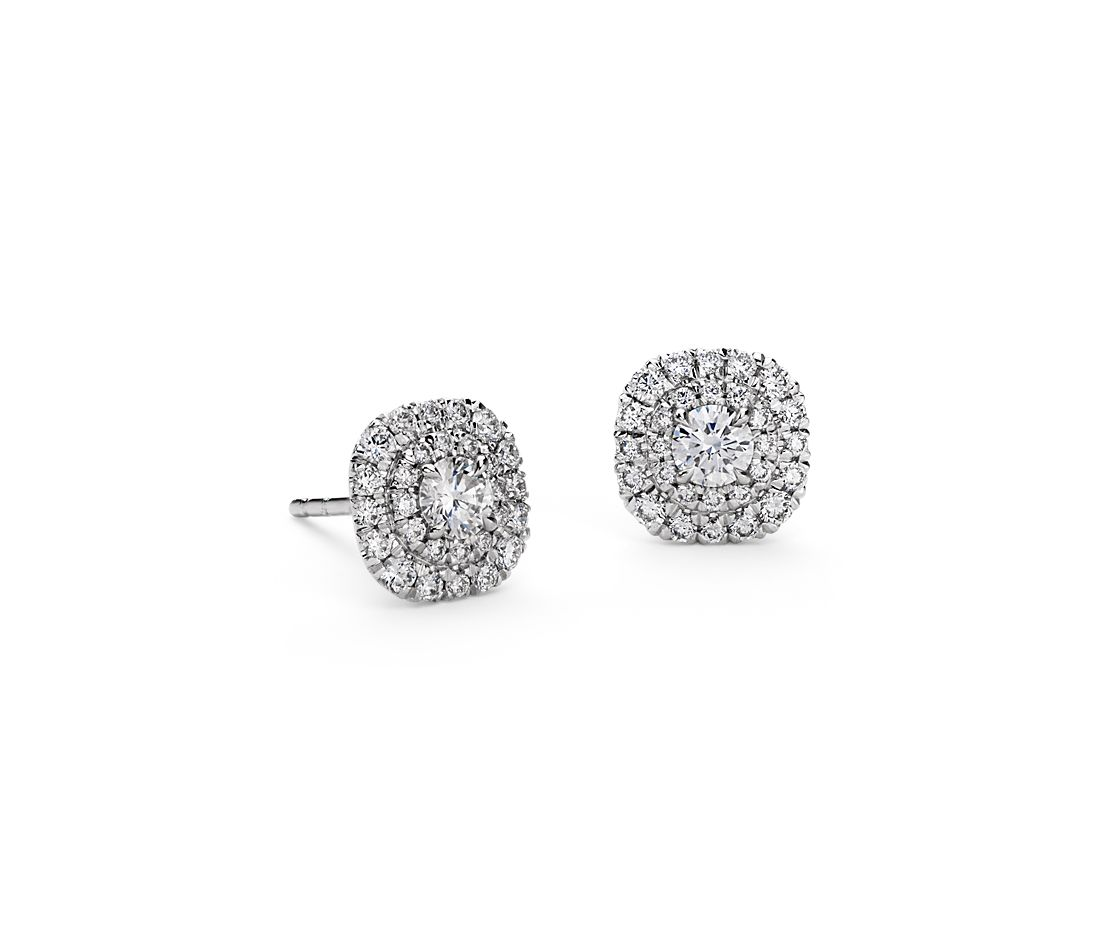 Double Halo Diamond Stud Earrings in 18k White Gold (4/5 ct. tw.)